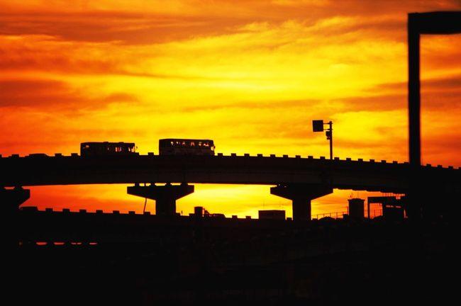 福岡市都市高速 夕焼け 空港