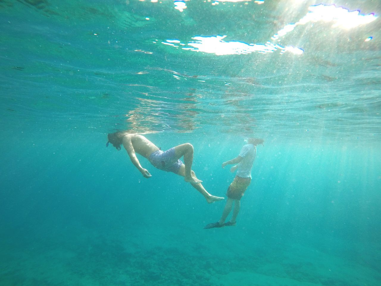 EyeEm Selects Water Real People Swimming Underwater UnderSea Adventure Shirtless Togetherness Nature Beauty In Nature Sea Day Two People Full Length Lifestyles Okinawa Relaxed Floating In Water Snorkeling Outdoors Men