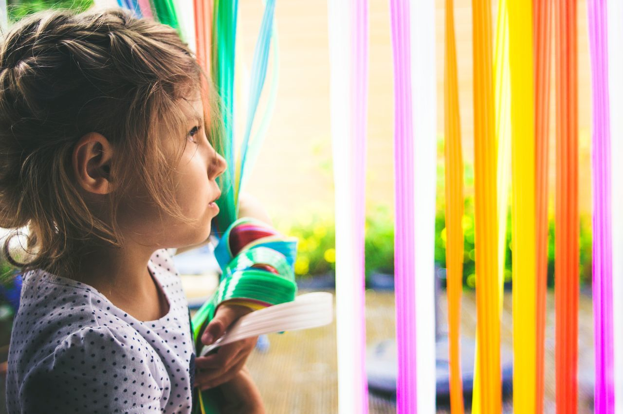 NEON LIFE| Child Multi Colored Curtain People Beauty Lifestyles Headshot Girls Beautiful People Childhood Close-up Portrait Portrait Photography Summer EyeEm Selects Life EyeEm Best Edits EyeEm Gallery EyeEm Best Shots Freshness Lightroom Nature Outdoors Day Neon Life