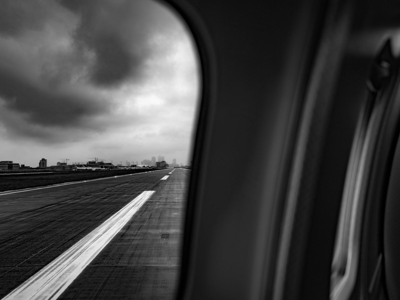 London City Airport Airplane Airport Black And White Clouds Day Indoors  Landscape Nature No People Road Runway Sky Transportation Weather Let's Go. Together.