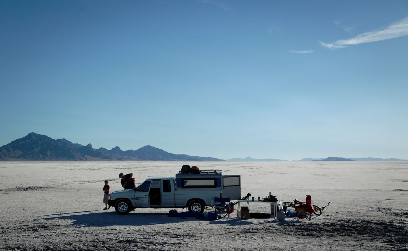 Salt Lake Camping - Arid Climate Day Desert Land Vehicle Nature Outdoors Salt Sky Transportation Let's Go. Together.