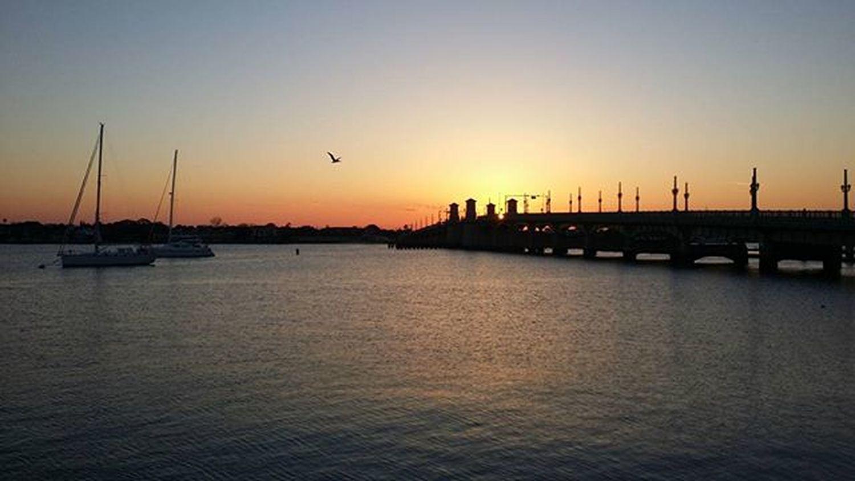 Ah, the morning commute. Staugustine Harbourside Harbour Florida Bridgeoflions Saltlife Boat Sailboat Picoftheday Sunrise Saltlife_sunrise Fireinthesky