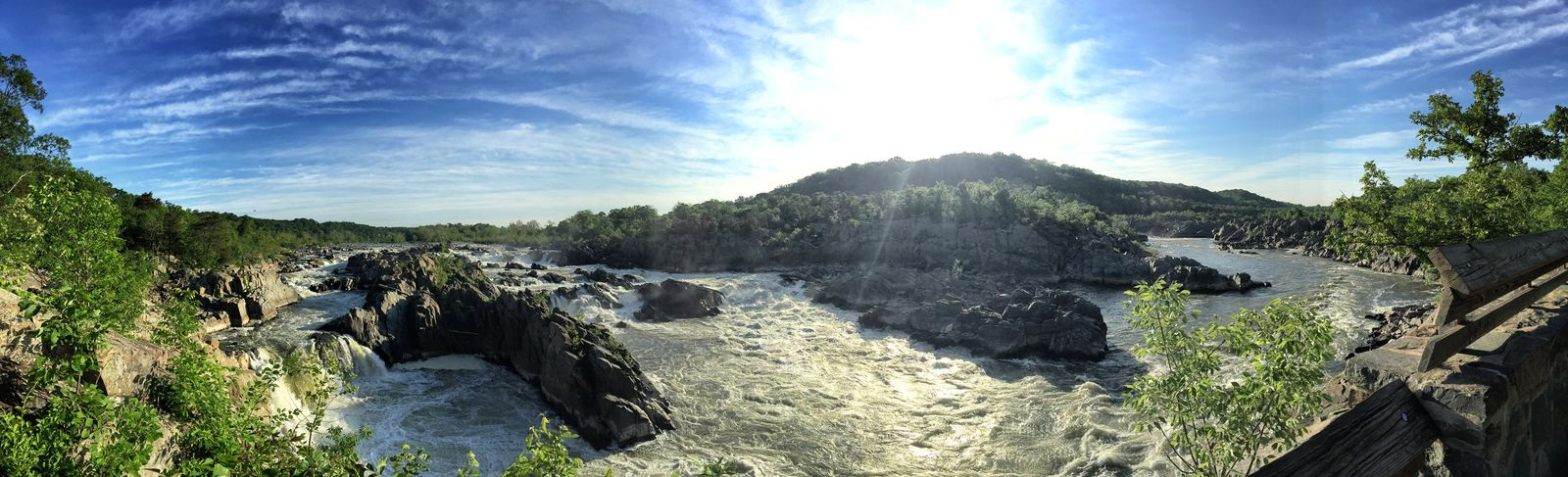 Beauty In Nature Cloud - Sky Day Geology Great Falls Lens Flare National Park Nature Non-urban Scene Panoramic Physical Geography Remote River Rock - Object Scenics Sky Sun Sunbeam Sunlight Sunny Tourism Tourist Tranquil Scene Tranquility Travel Destinations