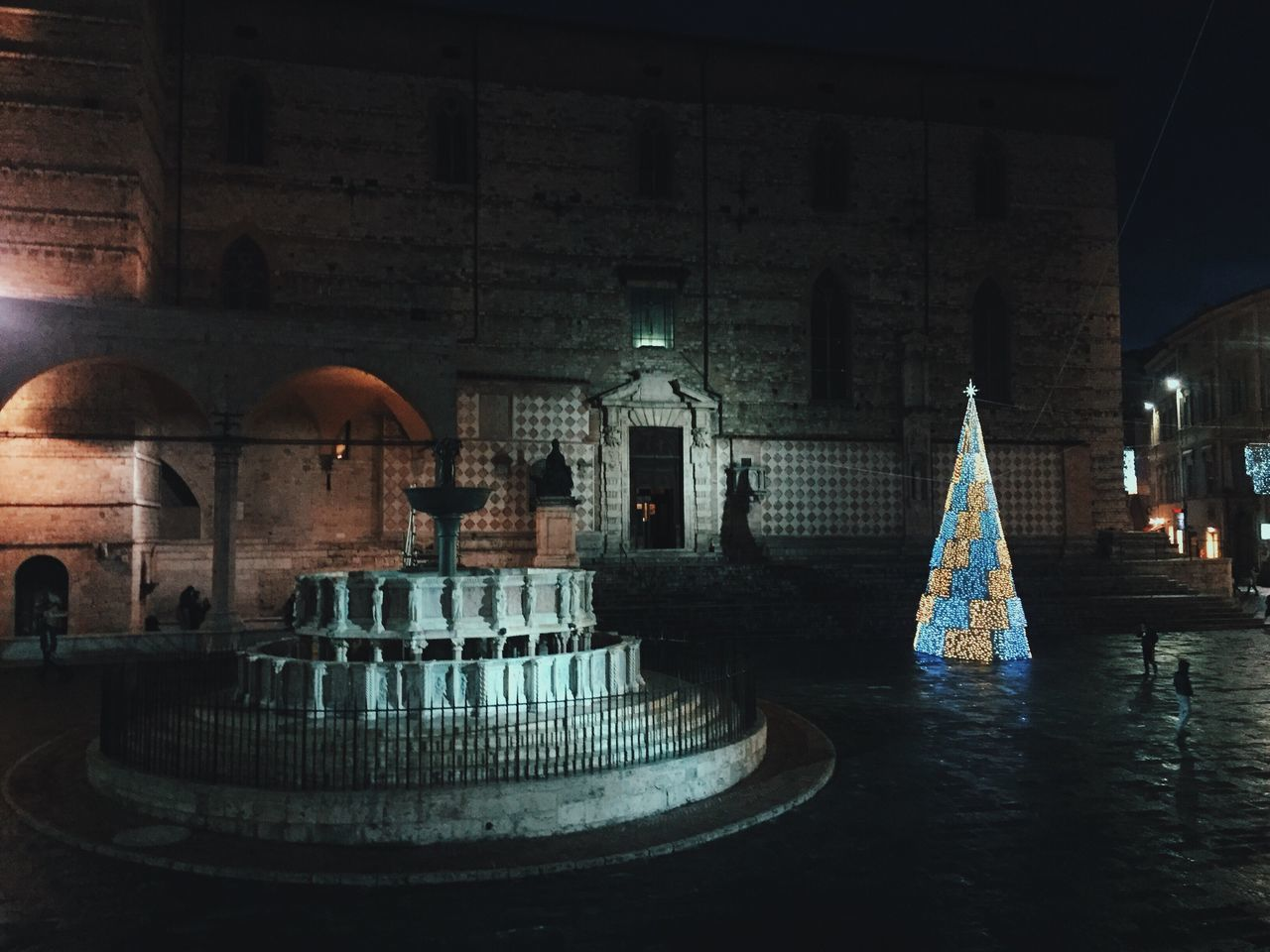 Already Xmas, by Claudia Ioan Architecture Building Exterior Illuminated Mobile Photography IPhoneography Iphone6 Christmas Tree Fountain Perugia VSCO Night Urban Urban Photography Christmas Lights Church