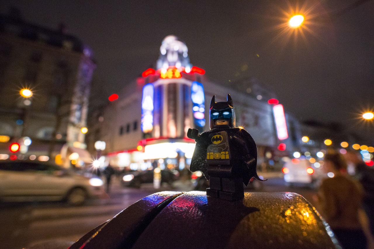 LEGO LegoBatmanlefilm Warner Bros LegoBatman Grand Rex LAOWA 15mm City Night Illuminated One Person People Men Outdoors One Man Only Adult Adults Only Only Men Paris, France