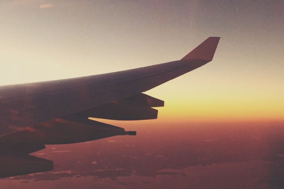 Transportation Part Of Cropped Airplane Aircraft Wing Air Vehicle Flying Mode Of Transport Sunset Travel Mid-air Sky Journey Aerial View Cloud Dusk Airplane Wing Scenics Tranquility Outdoors Advertisement Dramatic Sky