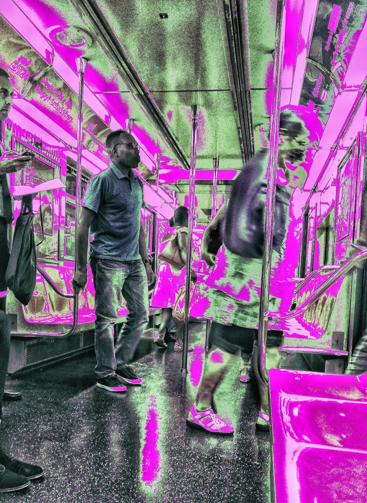 Neo-abstract Nyc Subway Views Real People Pink Color Full Length Lifestyles Standing Multi Colored Day Adults Only Adult Architecture Outdoors Spraying People