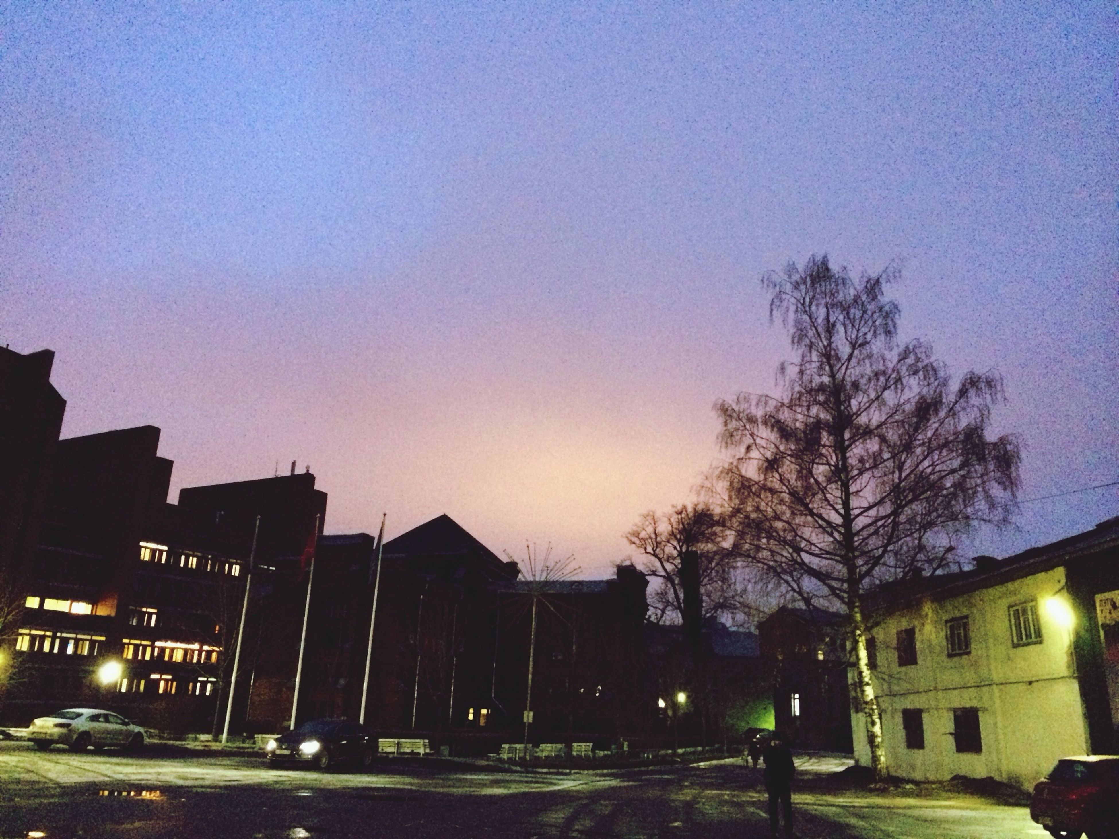 building exterior, architecture, built structure, city, illuminated, tree, residential structure, sunset, clear sky, residential building, street, silhouette, house, dusk, street light, sky, building, night, bare tree, copy space