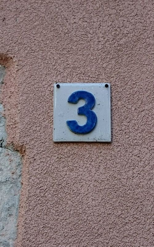 Orange Wall  Detail Decoration House Number On Wall House Number Outdoors Orange Background Orange Color Artistic Street Number Number 3 Number Three
