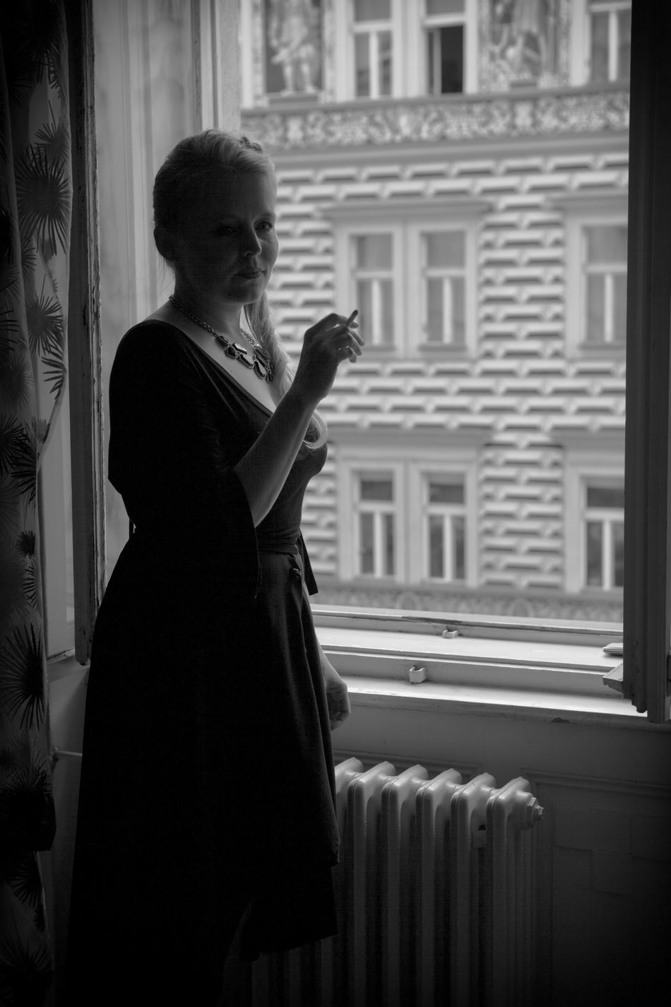 Black & White Black And White Femme Fatale In The Window Moment Person Portrait Of A Woman Smoker Smoking Woman