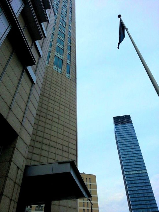 Architecture Building Building Exterior Buildings & Sky Built Structure City City Life Exterior Flag Grattacieli Grattacielo Low Angle View Modern No People Outdoors Palazzo Poland Polska Sky Skyscraper Skyscrapers Tall - High The Architect - 2016 EyeEm Awards Warszawa  Windows