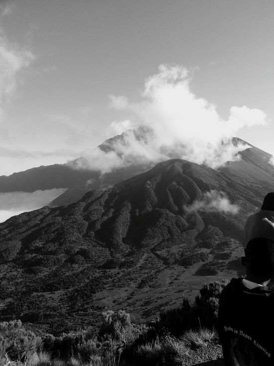 Views From The Top Mt.meru B&B Black And White By Aimy Simbi