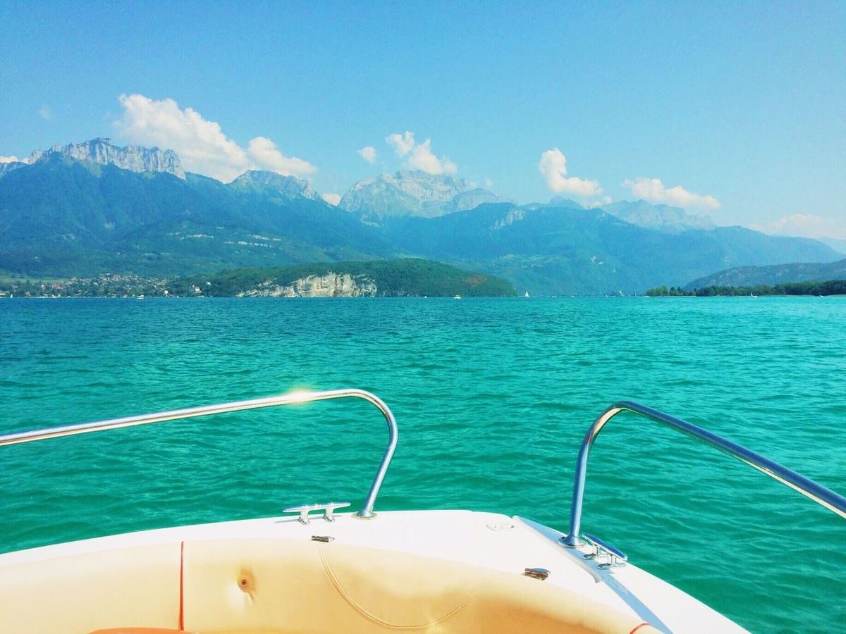 Lac d'Annecy Aug 2015 Motorboat Boat Blue Green Mountains Boat Ride Water Fresh Cool Clear France Hautesavoie Summer Sun The Great Outdoors - 2016 EyeEm Awards