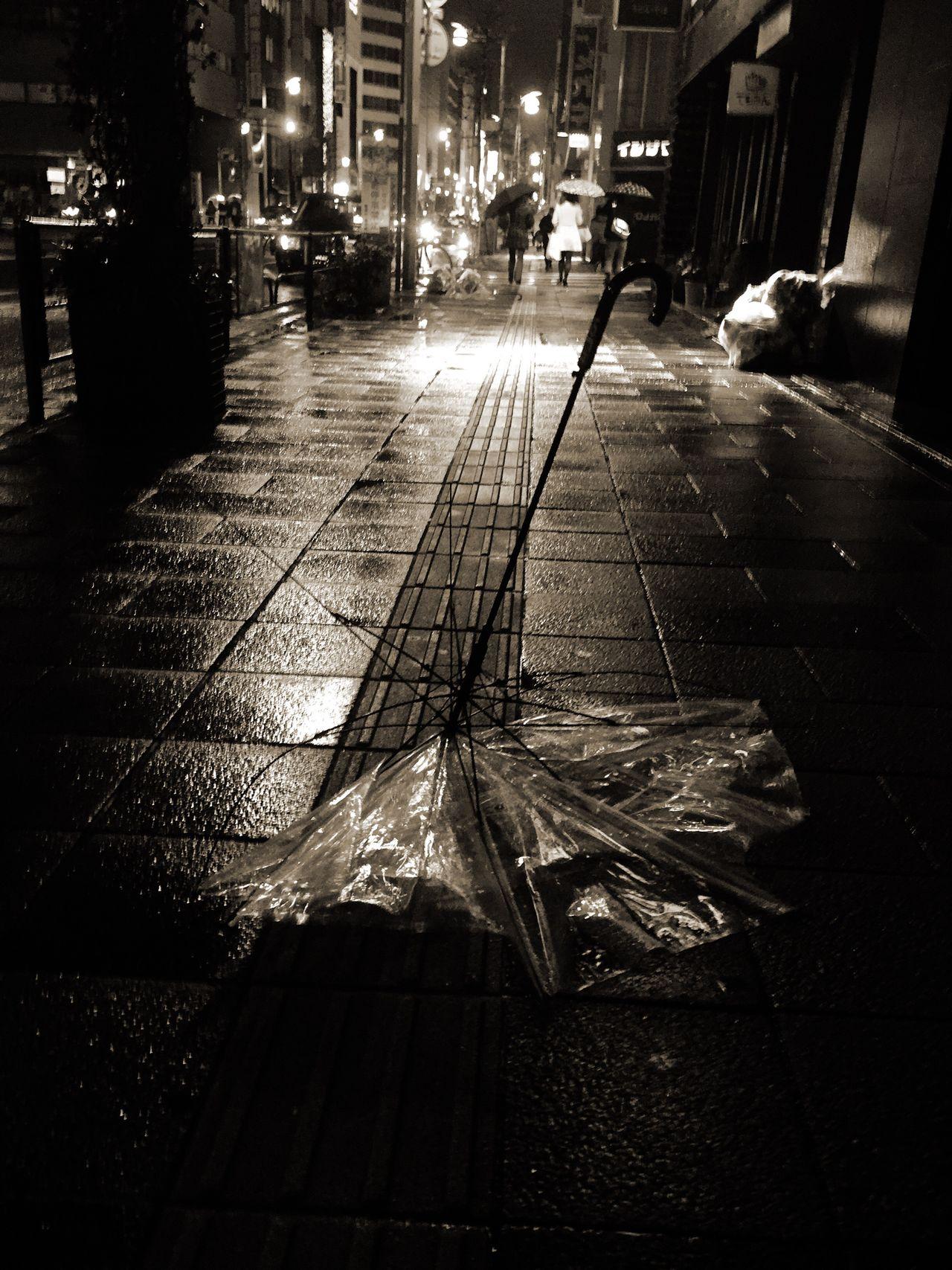 City Street Wet Night Architecture Rain City Life Japan Photography Japan Blackandwhite Black And White Black & White