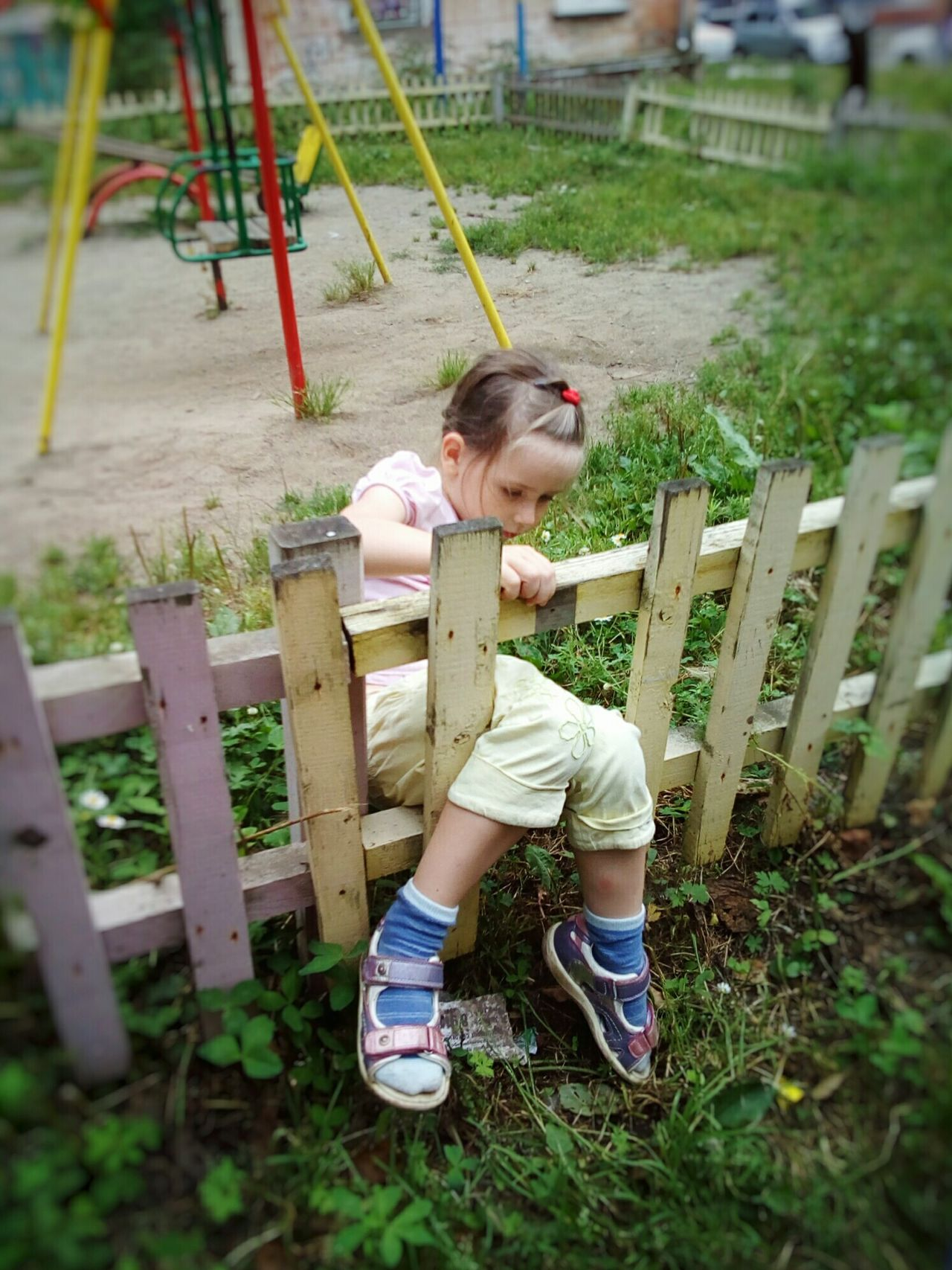 """Profitable busines"" Girl Child Childhood Playgarden Fence Hole In Fence Yard Playing Fun Summer August"