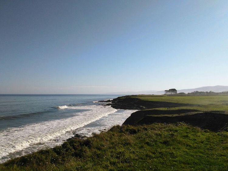 Waves and hills Galicia Cliffs Ocean Field Sea Seaside