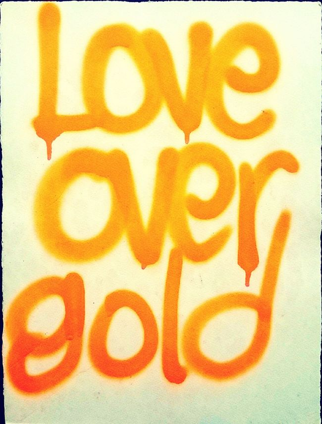 Text Western Script Communication Graffiti Textures And Surfaces Graphic Neon Color Orange Color Text Aerosol Spraypaint Love Gold Statement