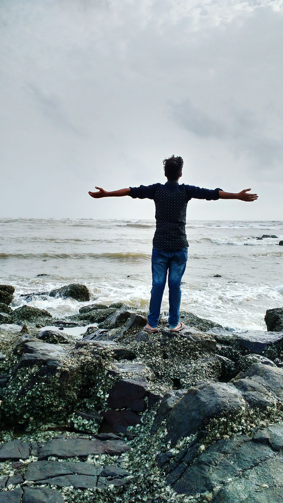 Mumbai Sea Beach Water Horizon Over Water Standing Vacations Tourist Travel Destinations Shore Lifestyles Tourism Scenics Rear View Men Arms Outstretched Full Length Leisure Activity Tranquil Scene Tranquility Idyllic Hajiali Hajialidargah First Eyeem Photo