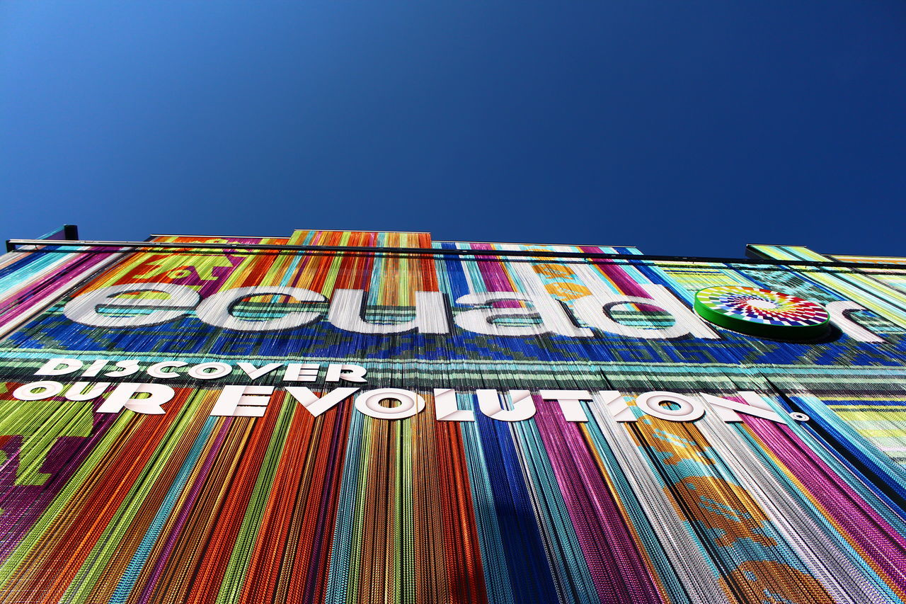 EXPO Pavillon Ecuador Bluesky Clear Sky Close-up Colorful Day Discover Revolution Ecuador Expo Ecuador Expo Milano 2015 Expo Pavillon Low Angle View Multi Colored No People Outdoors Pattern Pieces Pattern, Texture, Shape And Form Quito Ecuador Rainbow Colors Revolution