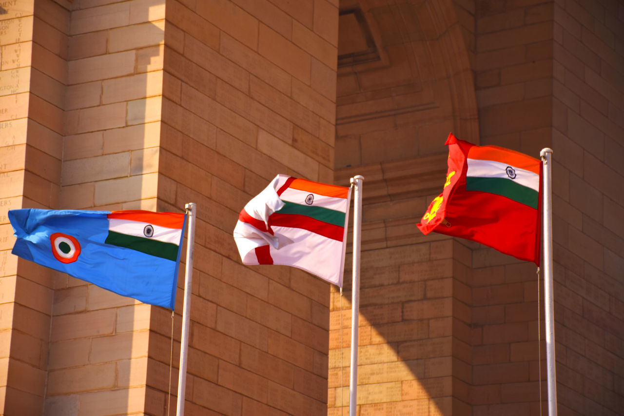 The pride of my nation. Armed Forces Flags India Gate Indian Air Force Indian Army Indian Military INDIAN NAVY No People Patriotism Pride Service Flags