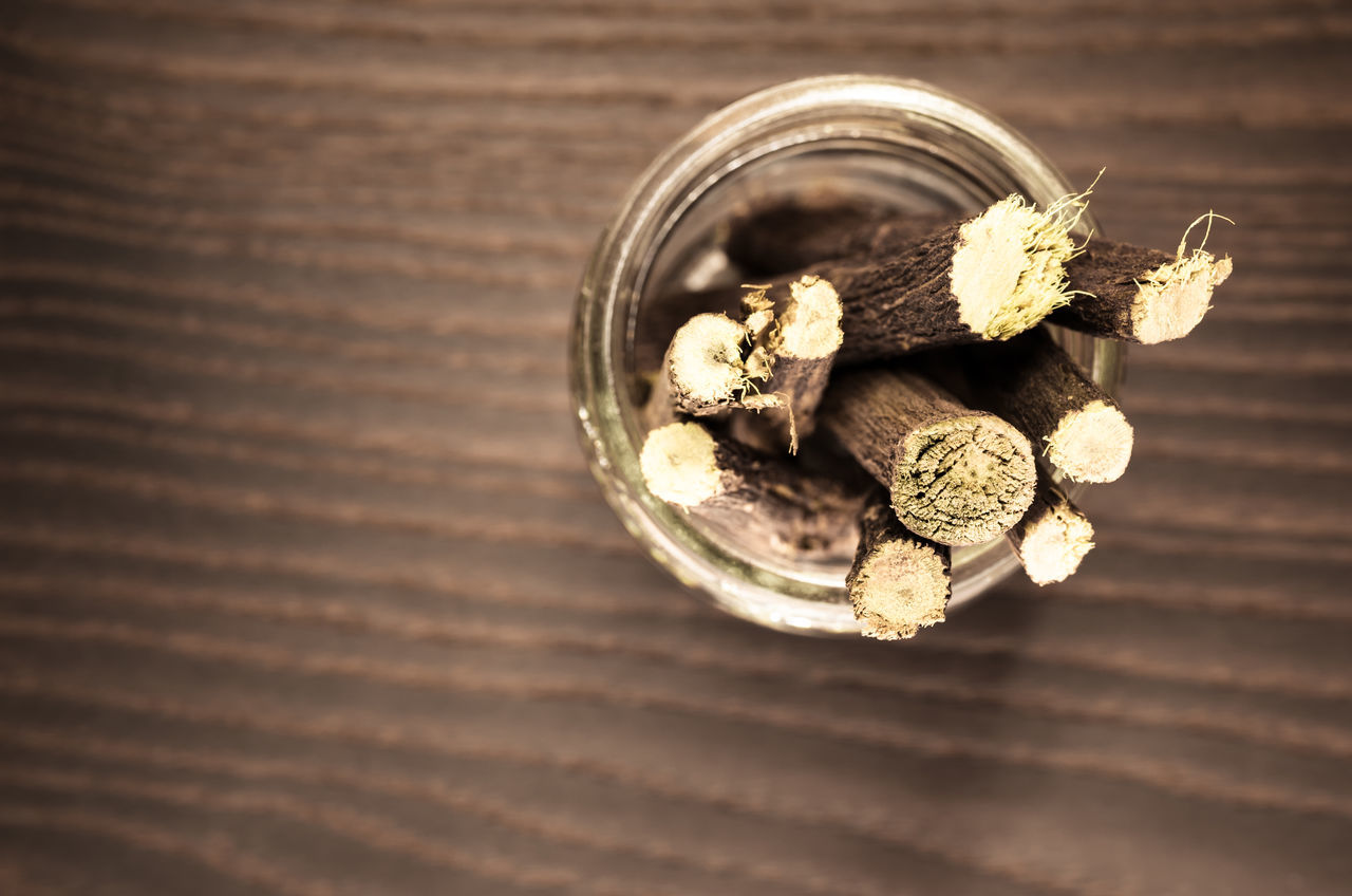 licorice roots Alternative Medicine Close-up Day Food Glass - Material Healthy Eating Herbal Indoors  Licorice Liquorice Natural Nature No People Perspective View Roots Top View Wood - Material