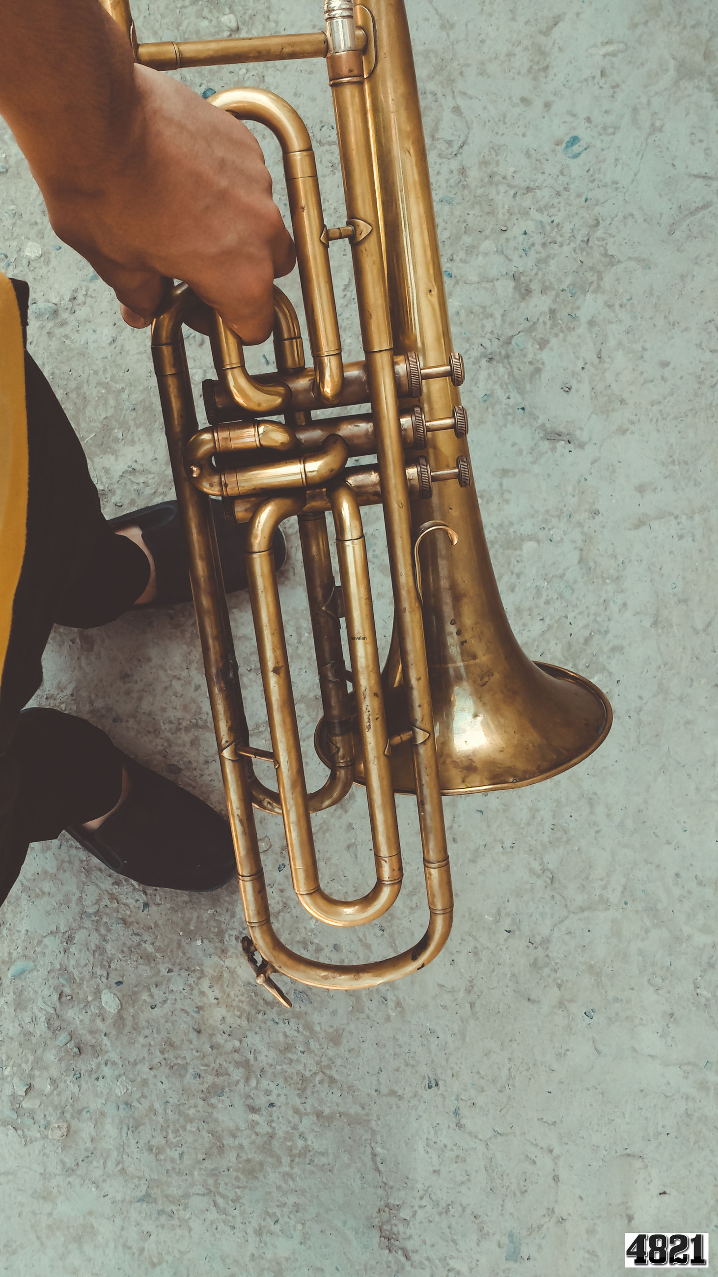 part of, person, metal, cropped, close-up, indoors, low section, unrecognizable person, men, holding, lifestyles, musical instrument, music, metallic, arts culture and entertainment, leisure activity