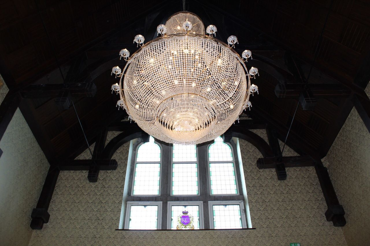 Kilronan Castle, Reception hall chandelier, Co Rosscommon, Ireland, Low Angle View Architecture Built Structure Indoors  Illuminated Hanging No People Day