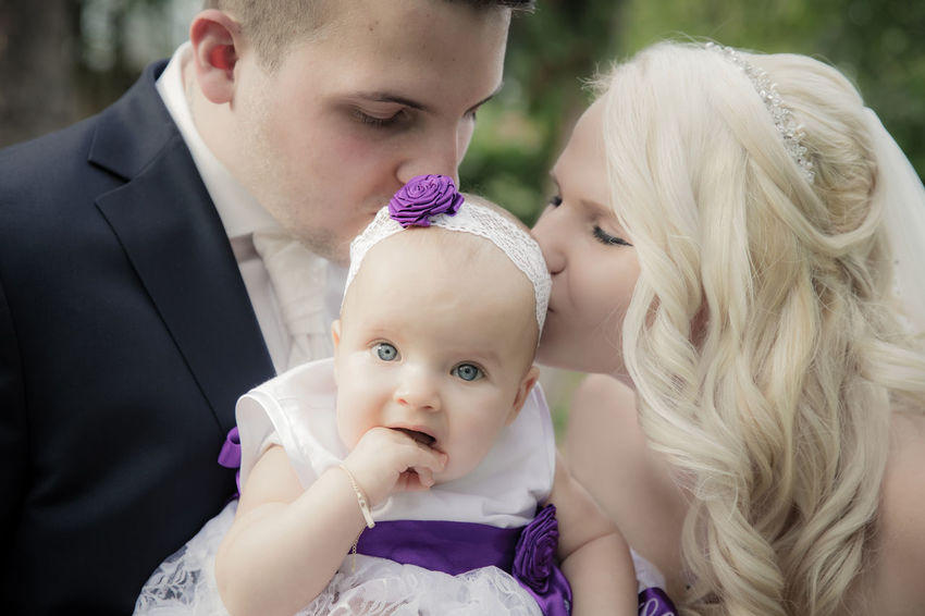 Lovely baby with their parents during wedding. Thanks to Vivan and Chris Baby Beautiful Groom Locks Motherhood Romantic Wedding Youth Baby Bonding Bride Childhood Close-up Cute Day Family Focus On Foreground Lifestyles Love Minor Outdoors Real People Smile Togetherness Young Adult