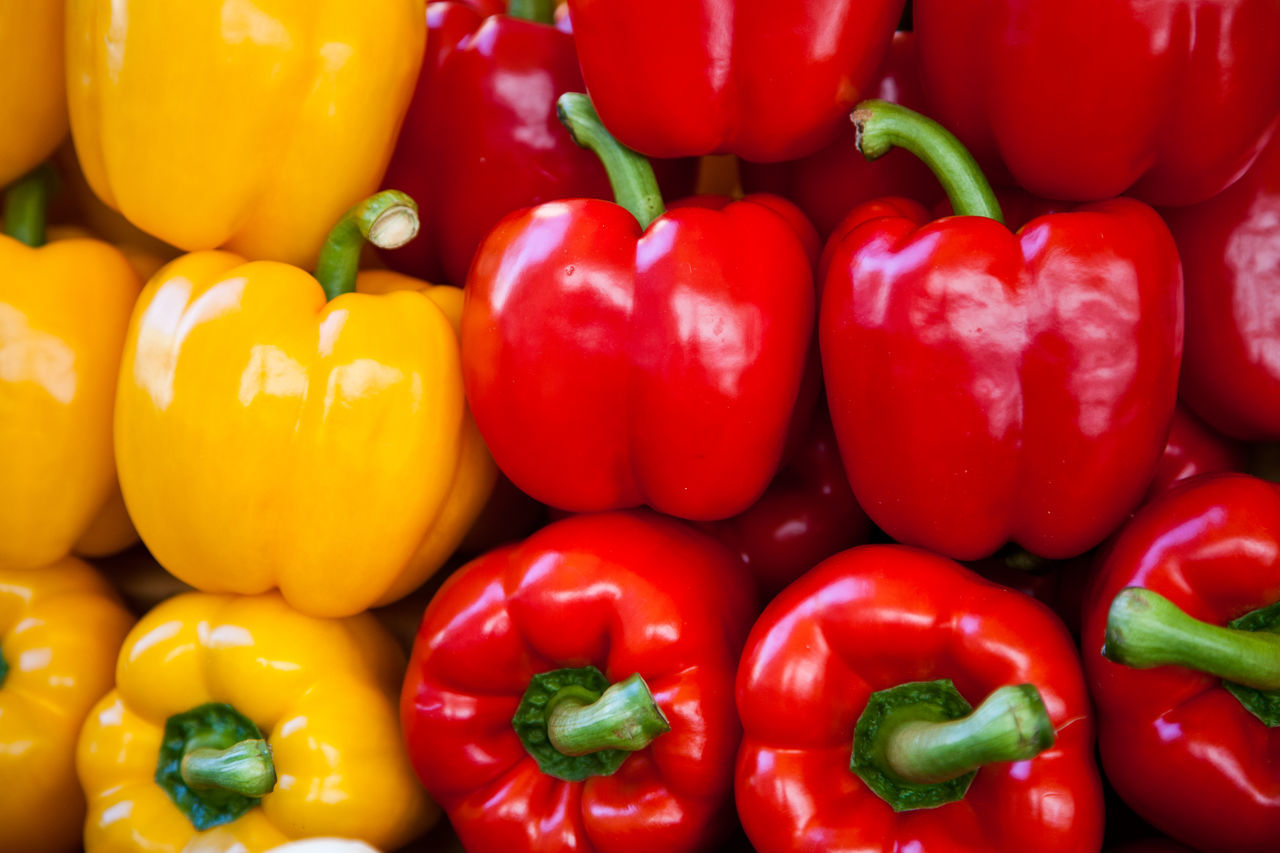 High Angle View Of Bell Peppers At Market