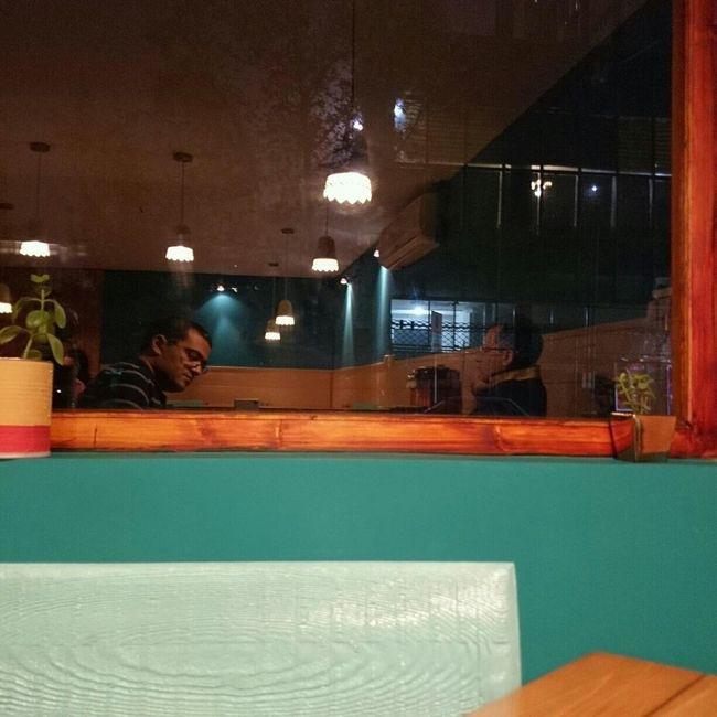 Coffee Shop Evening Window Reflection