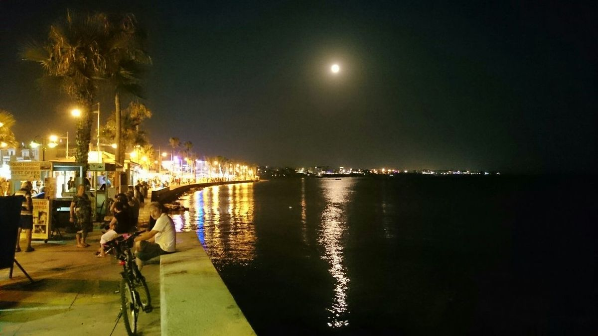A beautiful moon lit evening in Paphos Harbour.....great atmosphere..just lovely. Paphos Nightphotography Night Lights Moonlight Great Atmosphere Eye4photography  EyeEm Best Shots Happiness Relaxing Mingling