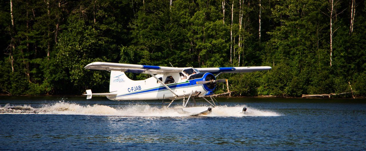 River Airplane Hydroplane Nature Flying Canada Old Technology Manmade Structure