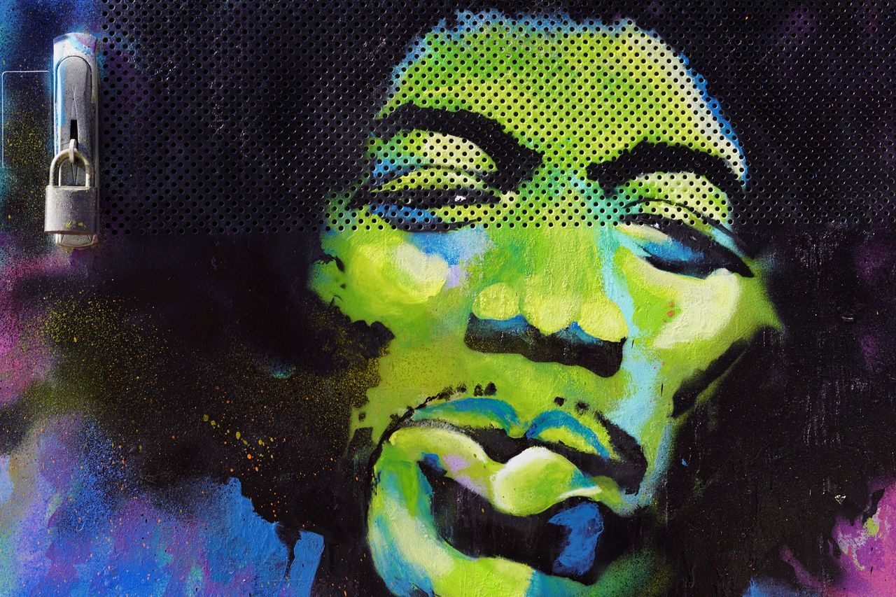 Art Close-up Day Famous Green Color Indoors  Jimmy Hendrix Mural Musician Rock N Roll Streetphotography