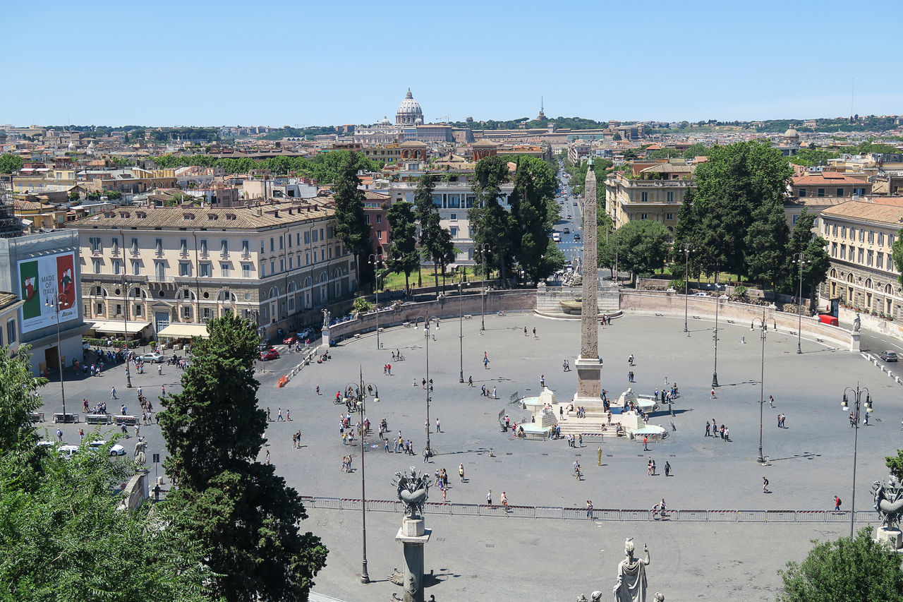 Rome, Italy June 18 2016. Piazza del Popolo fountain and obelisk view from Pincio. Pincian hill overlooks Vatican with St. Peter Basilica and Vatican radio masts. Via Cola di Rienzo in the background. Architecture Building Exterior Capital Cathedral Catholic Cityscape Dome Italia Italian Italy Papal Basilica Of St. Peter Piazza Del Popolo Piazza Del Popolo Fountain And Obelisk Pincian Hill Pincio Pope Religion Roma Roman Rome St. Peter's Basilica Travel Destinations Vatican Vatican Radio Masts Via Cola Di Rienzo Rome