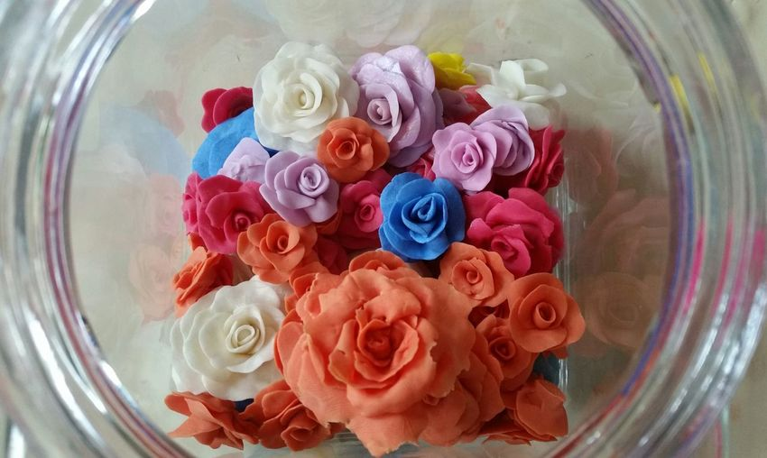 My handmade roses. :) Flower Multi Colored Indoors  No People Close-up Day Handmade Hand Made Colorful Colors Cold Porcelain Cold Porcelane...♡♡♡♡ Roses🌹 Roses Rose - Flower Roses Flowers  Rose🌹 RØSE