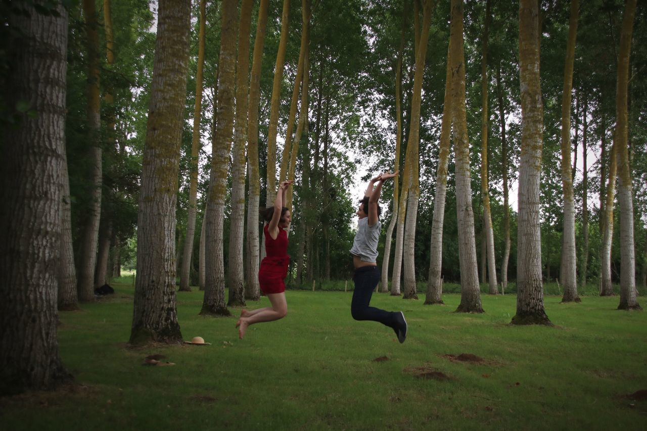 Side View Full Length Of Friends Jumping Amidst Trees Over Grassy Field