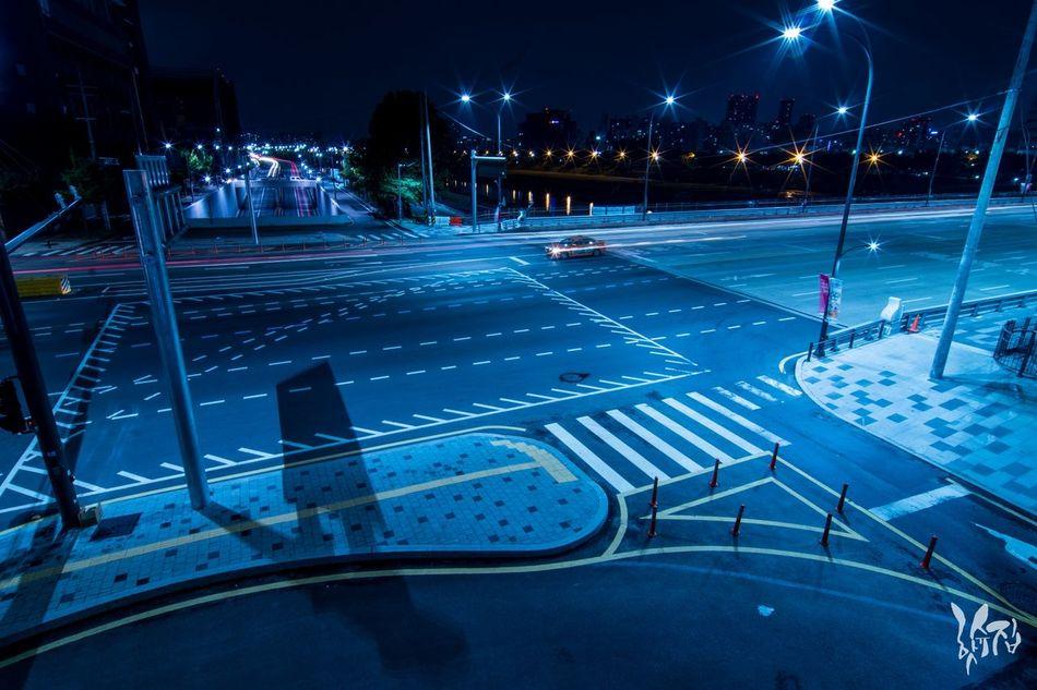 Illuminated Night City Cityscape Outdoors No People