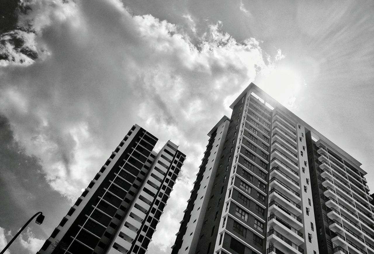 Shine on.... Skyscraper Architecture Building Exterior Sky Low Angle View Cloud - Sky City Built Structure Outdoors Day Urban Skyline Cityscape Office Park Phone Photography Monochrome Photography