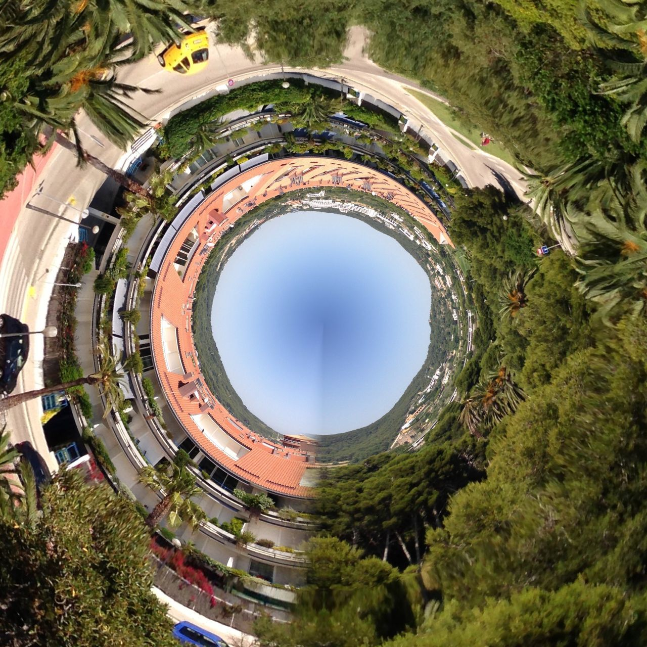 circle, architecture, tree, built structure, day, growth, building exterior, no people, outdoors, fish-eye lens, sky