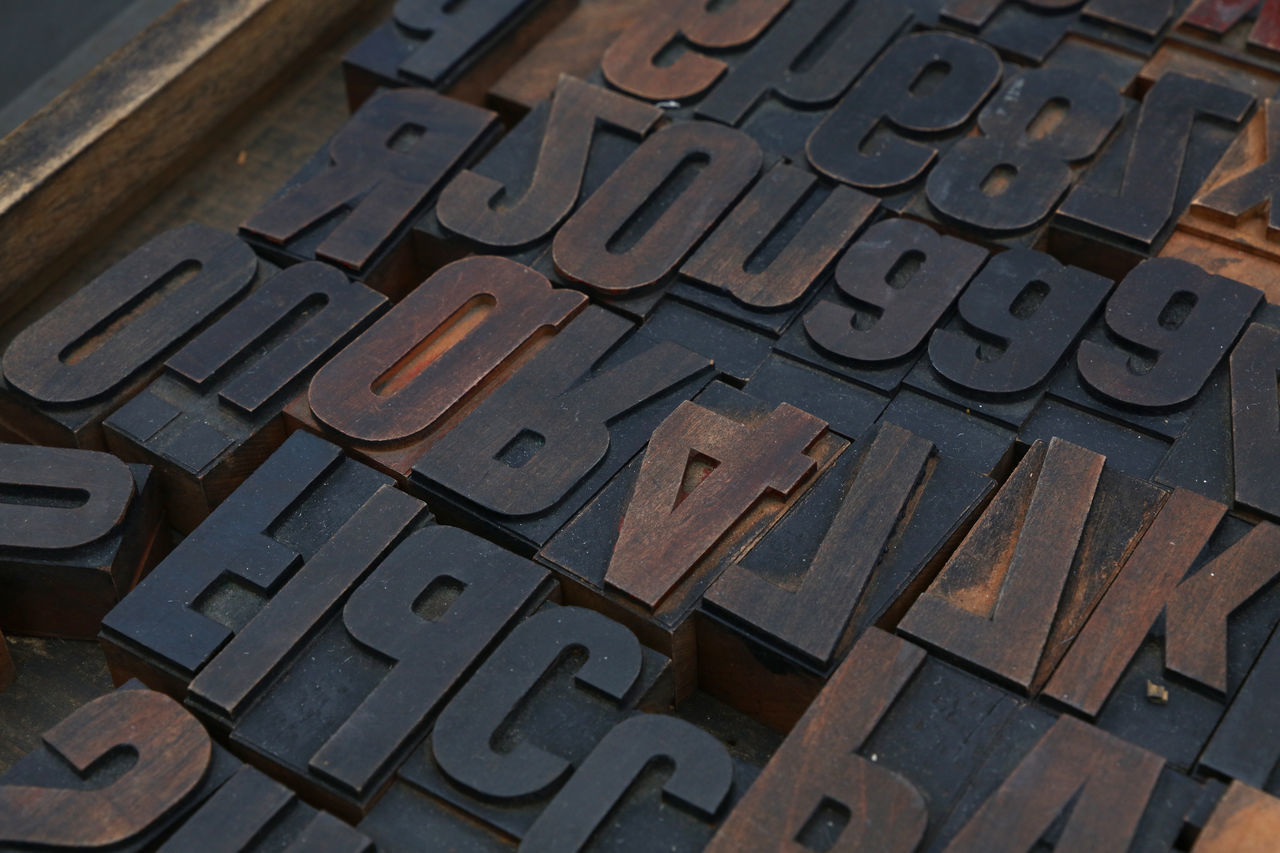 Old wooden vintage antique typography letterpress printing blocks, mixed alphabet, close up Alphabet Antique Close Up Craft Font Grunge High Angle View Letterpress Letters Newspaper Offset Old-fashioned Paint Poster Printing Retro Stamp Technology Text Typeface  Typescript Typeset Typography Vintage Wooden