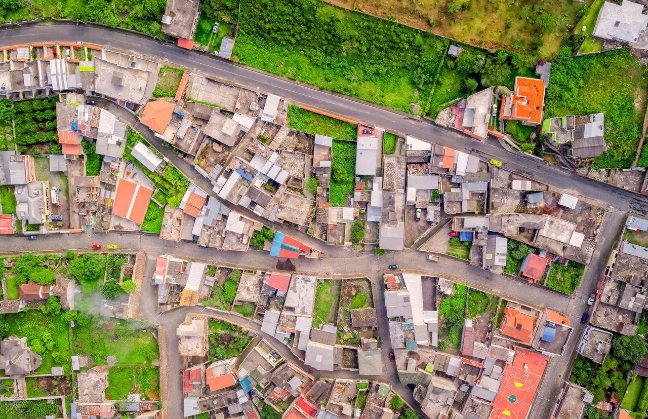 Residential Community Of Banos De Agua Santa, Tungurahua Province, South America Aerial View Altitude Andes Architecture Building Exterior Car City City Life City Life Cityscape Community Crowded Day Drone  Dronephotography Droneshot High Angle View Houses Neighborhood No People Outdoor Photography Outdoors Roof Street Up