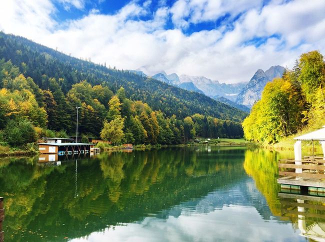 Garmisch Partenkirchen Garmisch-partenkirchen Lake Lake View Autumn Autumn Colors Autumn Leaves Mirroring In Water