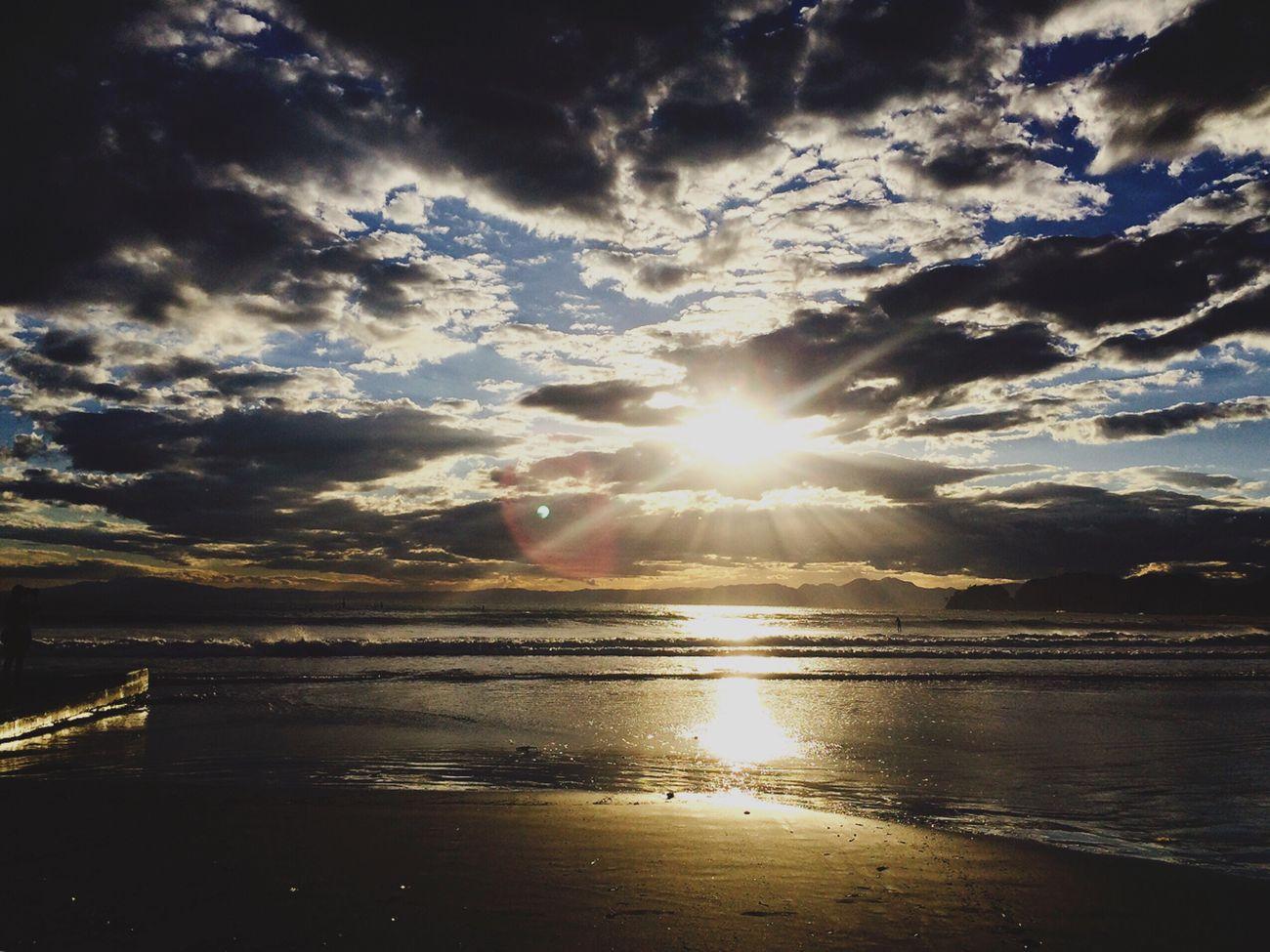 Cloud - Sky Cloud Sun Beach Sea Reflection Beauty In Nature Sunset Shore Sky Sunbeam Cloudy 海 空 青 Enjoying The Sun Sea And Sky Seascape Landscape_Collection ✨✨✨✨🙏🏼