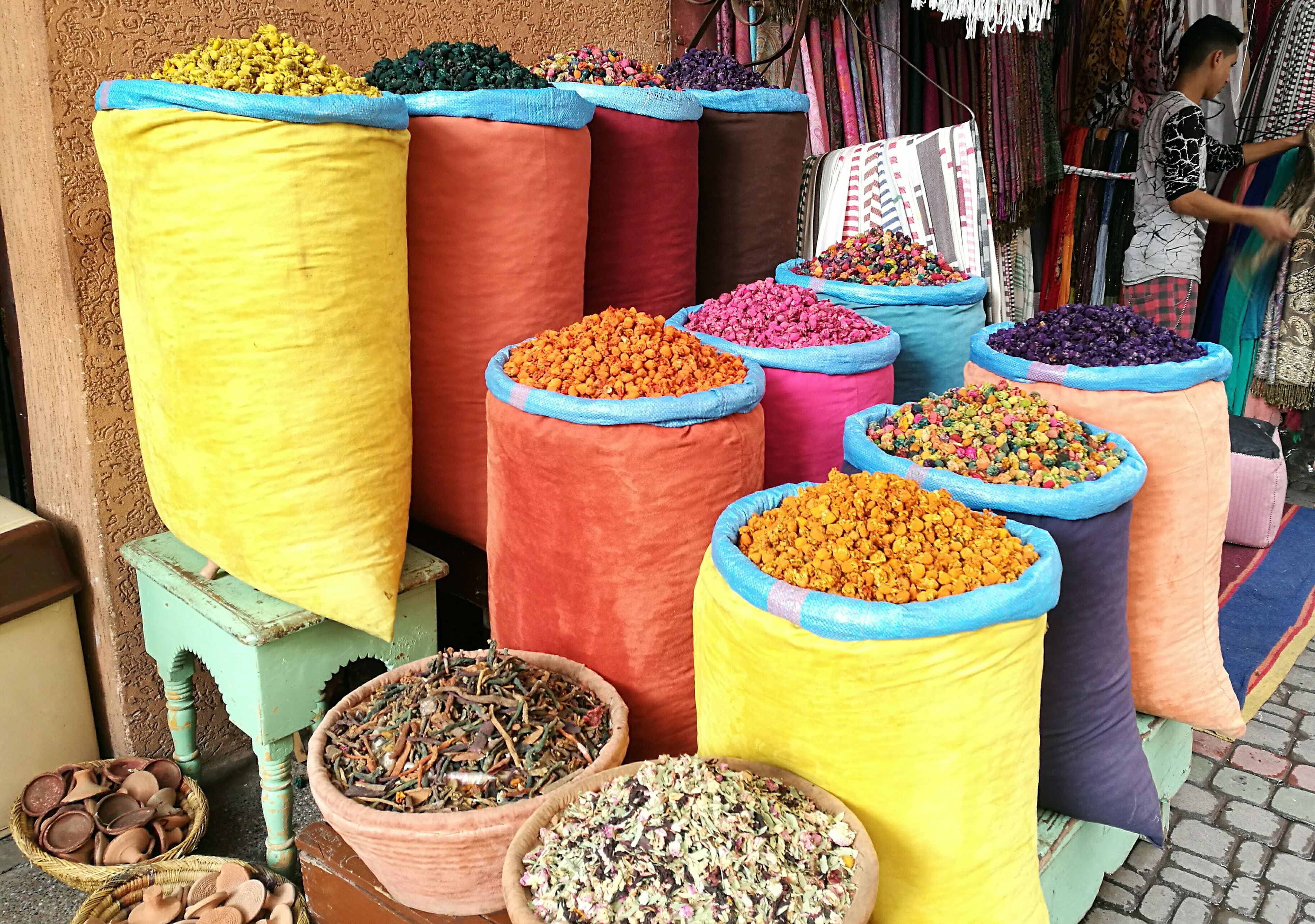 market, multi colored, variation, sack, market stall, food, for sale, healthy eating, no people, outdoors, day