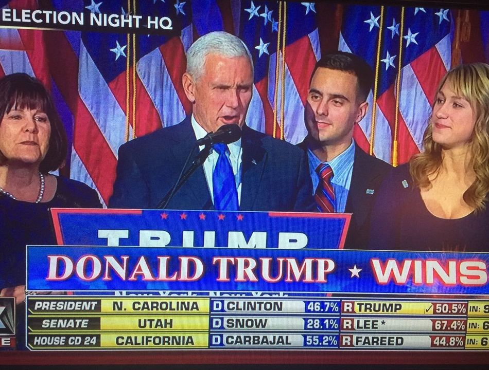 Snapped a pic from TV for Historical reasons. Politics People Election Businessman Indoors  Politician Donald Trump Mike Pence Us Flags Next President President Wins Presidential Election 2016 Eyeem Market EyeEm Family Lord Help Us  God Bless America Enjoy The New Normal Who What Where What Who Where