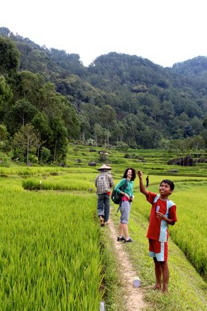 Boys Casual Clothing Child Childhood Day Field Full Length Grass Green Color Growth Landscape Mountain Nature Outdoors Plant Real People Rice Field Scenics Standing Togetherness Tree Walking