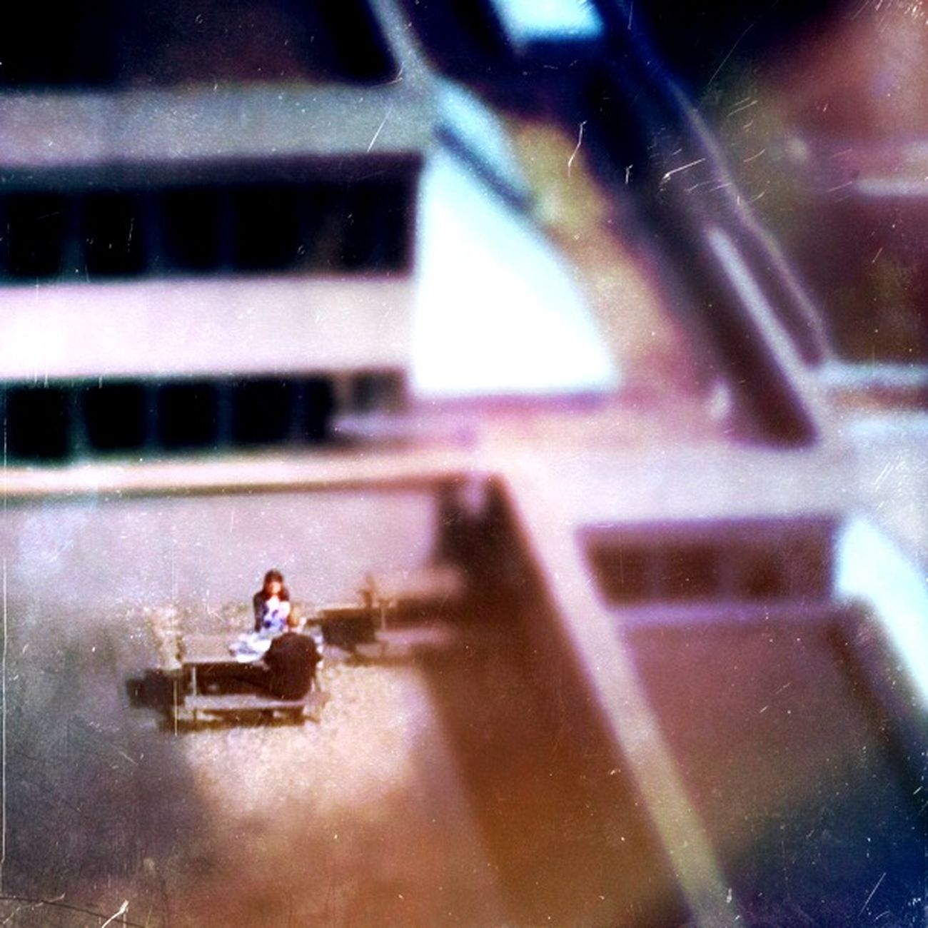 Small Scenes Of Life Picnic Rooftop Eating People Sun Buildings Table
