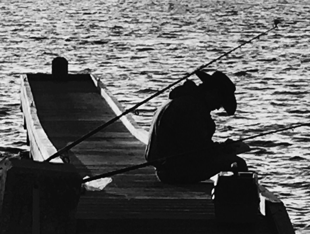 Darkness And Light Light And Shadow Blackandwhite Black & White Taking Photos Nature Silhouette EyeEm Best Shots Eye4photography  Waterfront People Black And White Fishing Man Seaside