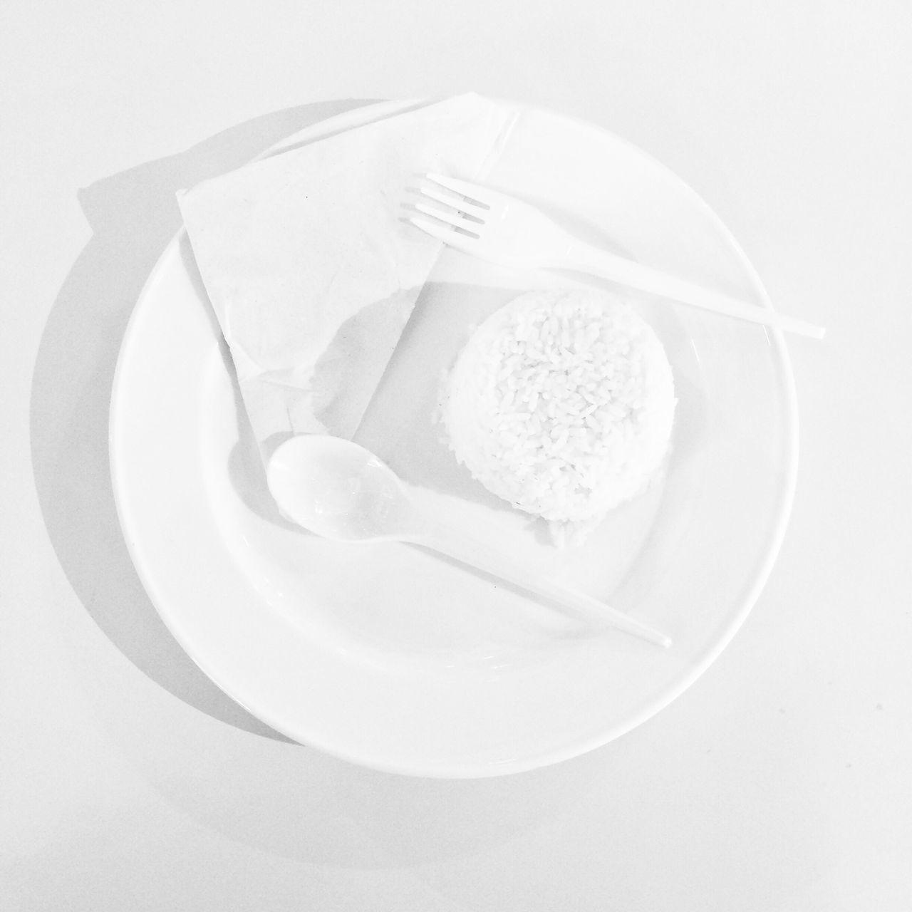 White Rice Rice White On White White Plate Food Cooking Blackandwhite