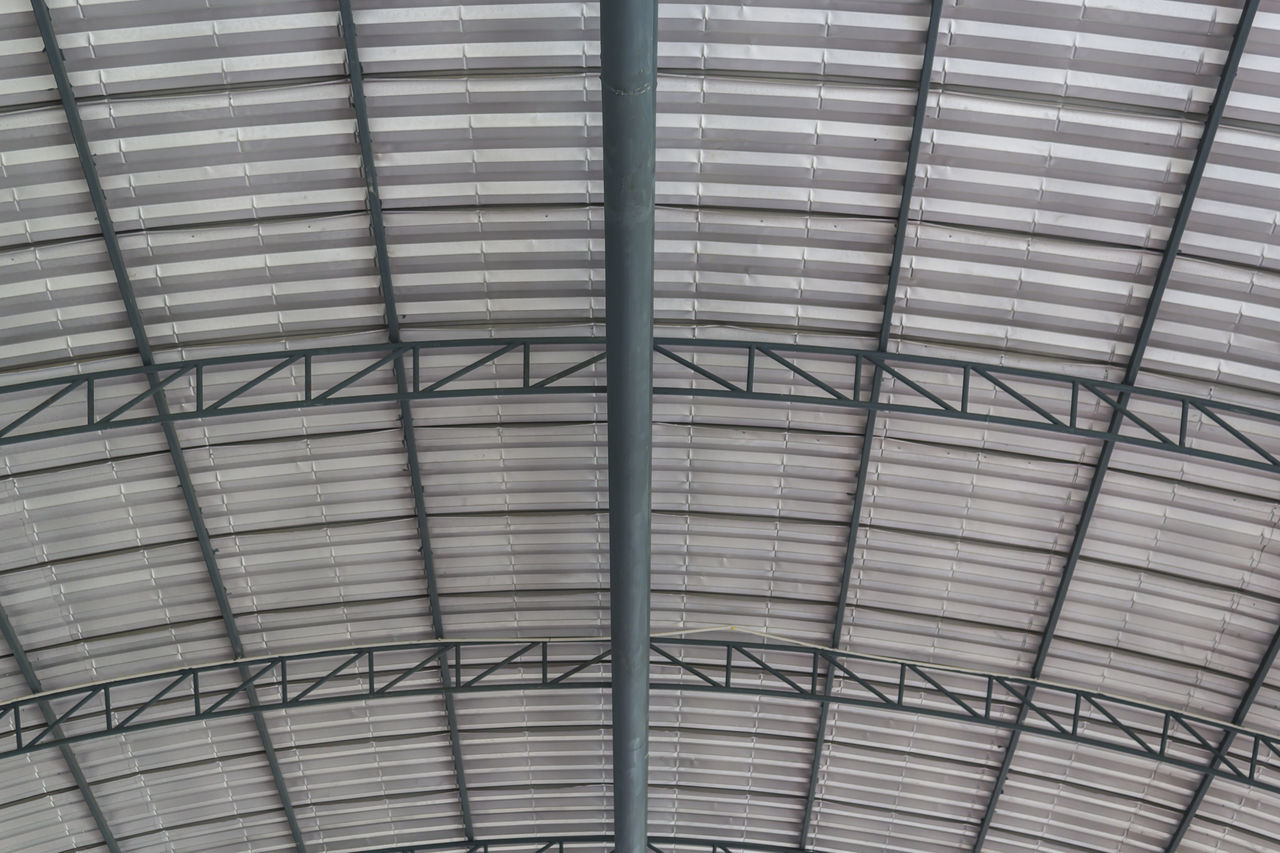 Metal roof structure Architecture Beam Built Structure Ceiling Construction Design Development Estate Factory Framework Indoors  Industrail Interior Metal Modular Roof Structure Truss